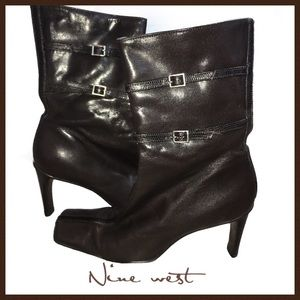 Nine West Dark Brown Leather Booties Size 5.5M